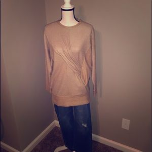 Ladies taupe twist front sweater